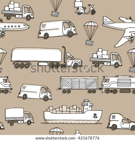 Seamless pattern with different types of transport delivery, delivery ways and logistics in business and industry with scooter, bus, trucks, airplane, railway, seaway cargo ship and other. - stock vector