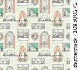 Seamless pattern with different windows. - stock photo