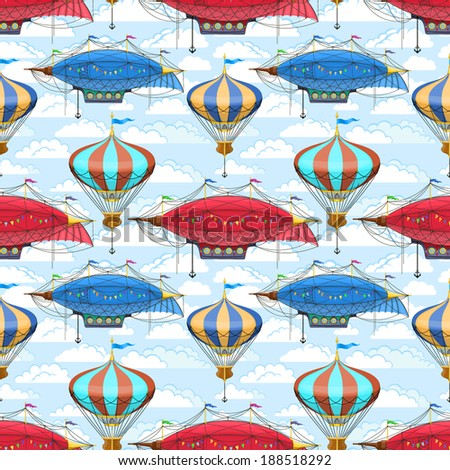Seamless pattern with dirigibles and air balloons in the sky - stock vector