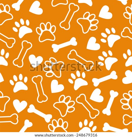 Seamless pattern with dog paw print, bone and hearts. Vector illustration - stock vector