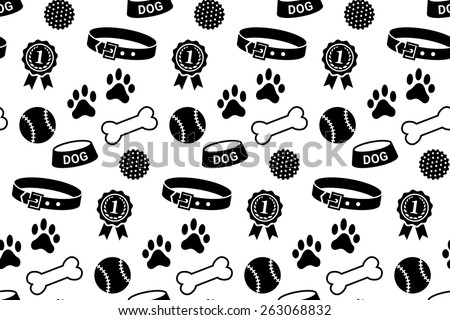 Seamless pattern with dog's stuff. Collar, bowl, balls, bones, paw prints and the reward - stock vector