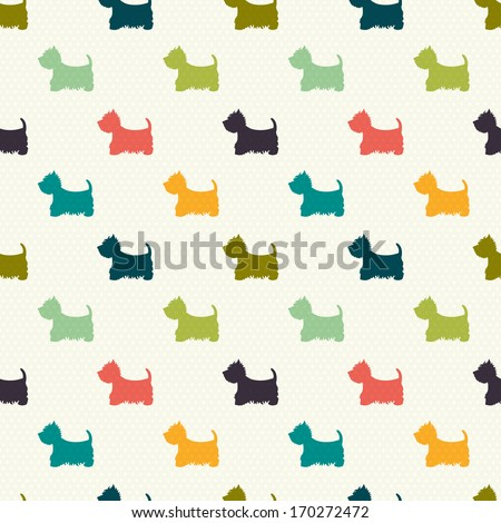 Seamless pattern with dog silhouettes on polka dot background. West highland terrier. Vector background. - stock vector