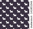 Seamless pattern with dog silhouettes on violet background. West highland terrier. Vector background. - stock vector