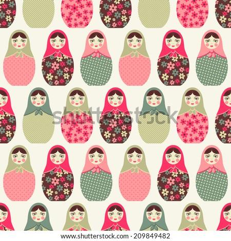 Seamless pattern with dolls. matreshka - stock vector