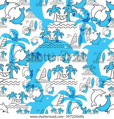 Seamless pattern with dolphins and palm trees. Summer background