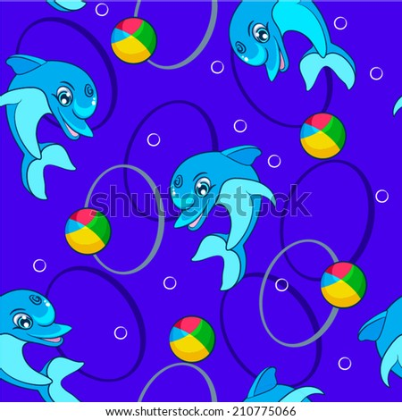 seamless pattern with dolphins, background, vector