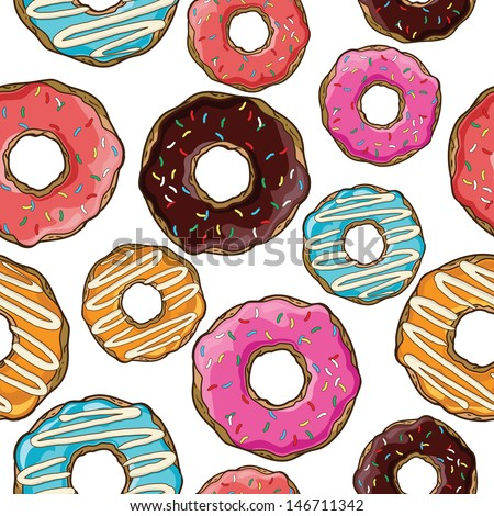 Seamless pattern with donuts - stock vector
