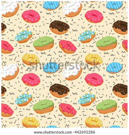 Seamless pattern with donuts. Summer fun pattern. Cartoon style. Vector seamless pattern with colorful donuts with glaze and sprinkles. Multi-colored donuts hand drawn seamless pattern. - stock vector