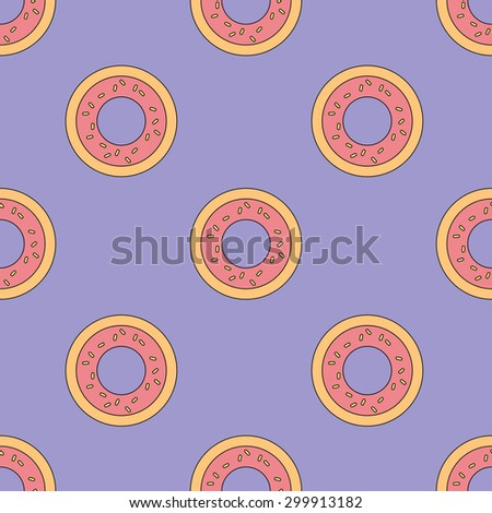 seamless pattern with donuts. vector illustration - stock vector
