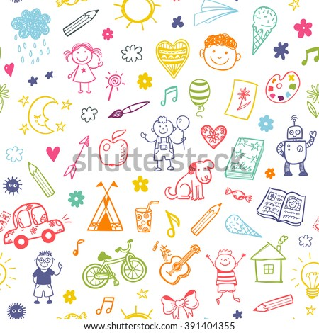 seamless pattern with doodle children drawing - Images For Children
