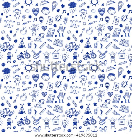 Seamless pattern with doodle children drawing. Hand drawn funny background - stock vector