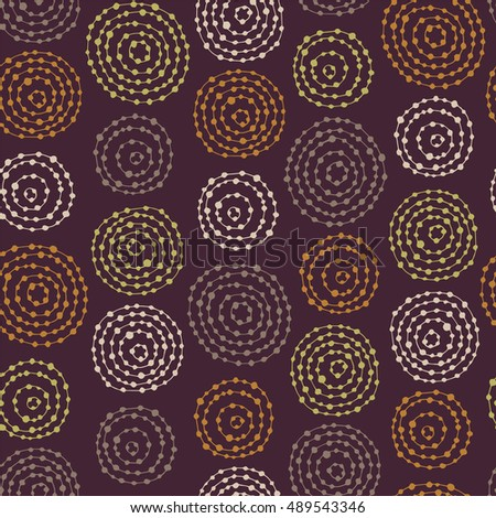Seamless pattern with doodle circles randomly distributed.