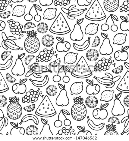 Seamless pattern with doodle juicy fruits in black - stock vector