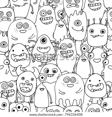 Seamless Pattern Doodle Monsters Coloring Page Stock Photo Photo