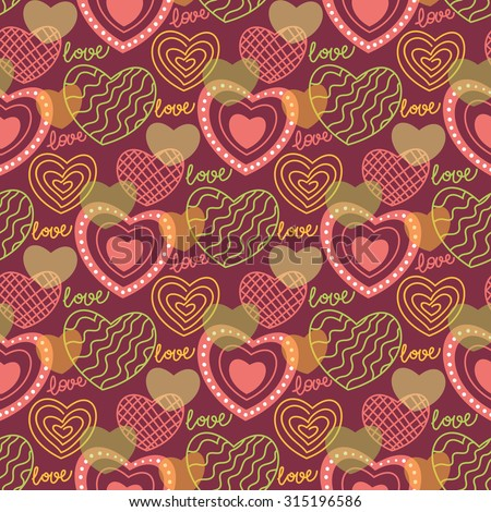Seamless pattern with doodle stylized hearts and words 'love'. Hand drawn vector illustration - stock vector