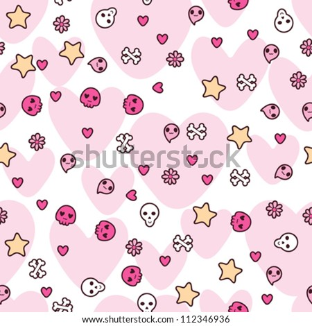Seamless pattern with doodle. Vector kawaii illustration. - stock vector
