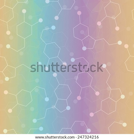 Seamless pattern with dopamine and serotonin molecules. Joy hormones. Natural antidepressant concept - stock vector