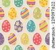 Seamless pattern with easter eggs - stock photo