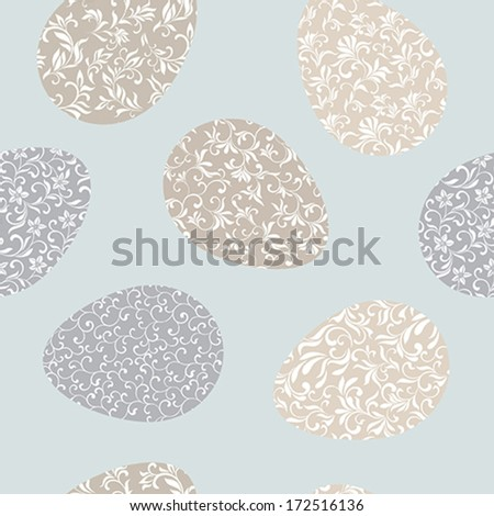 Seamless pattern with Easter eggs on a blue background