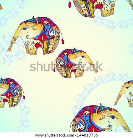 seamless pattern with elephant - stock vector