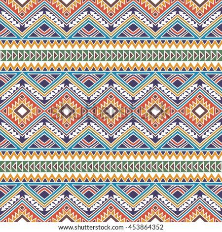 Seamless Pattern Ethnic Ornament Aztec Stylized Stock Photo (Photo ...