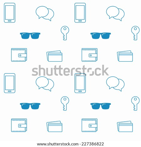 Seamless pattern with everyday objects: sunglasses, key, phone, wallet, credit cards and speech bubbles.  - stock vector