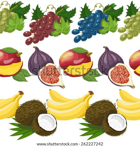 Seamless pattern with exotic fruits. Vector illustration for your design - stock vector