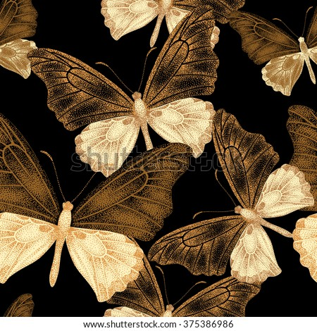 Seamless pattern with exotic tropical butterflies on black background. A series unique design with gold. Template for making paper, wall paper, fabrics, textiles, packaging. Vintage. Victorian style. - stock vector