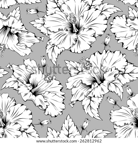 Seamless pattern with exotic tropical flower - hibiscus. - stock vector