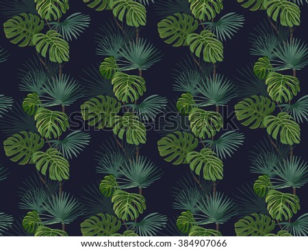 Seamless pattern with exotic tropical leaves. Vector background.