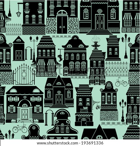 Seamless pattern with fairy tale houses, lanterns, trees. City endless background. Black silhouettes on blue background. - stock vector
