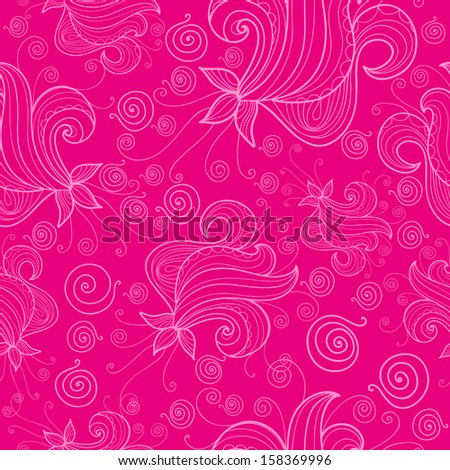 Seamless pattern with fantasy flowers on pink background