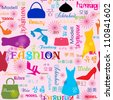 Seamless pattern with fashion typography design / Seamless pattern with heeled shoes dress handbag - stock vector