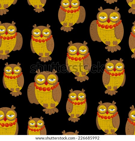 Seamless pattern with fashionable retro owls. Vector illustration, repeated background of nature creations. - stock vector