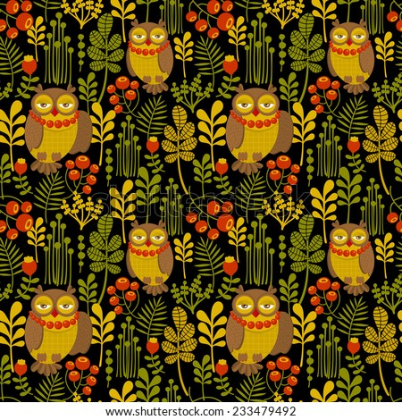 Seamless pattern with fashionable retro owls. Vector illustration, repeated background with wild birds. - stock vector