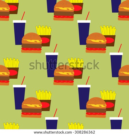 Seamless pattern with fast food - stock vector