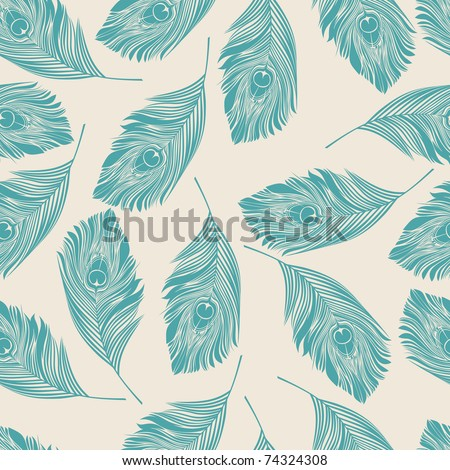 seamless pattern with feather - stock vector