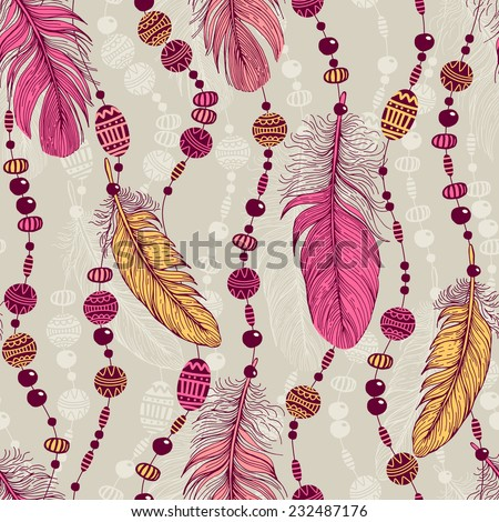 Seamless pattern with feathers. - stock vector