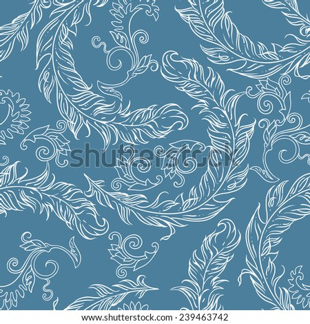Seamless pattern with feathers and vintage stylized ornamental elements. Can be used for cards, invitations, fabrics, wallpapers, scrap-booking, ornamental template for design and decoration, etc