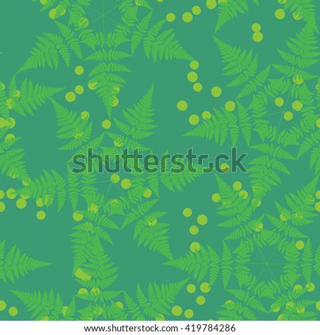 Seamless pattern with fern leaves in the form of star - stock vector