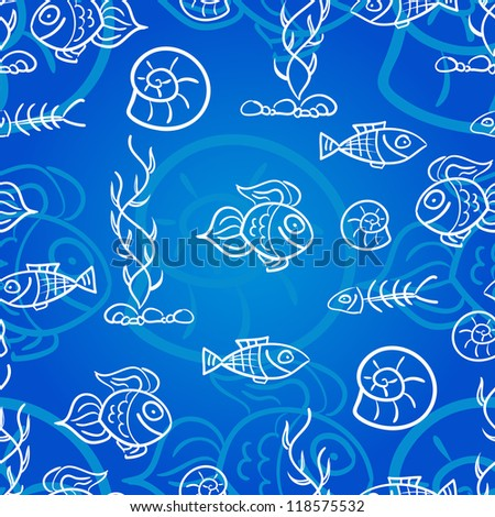 Seamless pattern with fish and shells - stock vector