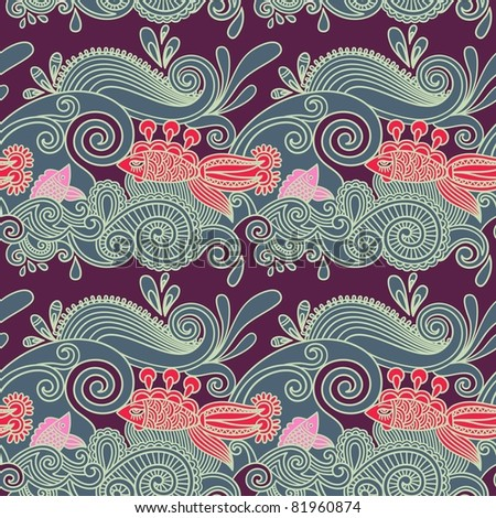 seamless pattern with fish and wive - stock vector