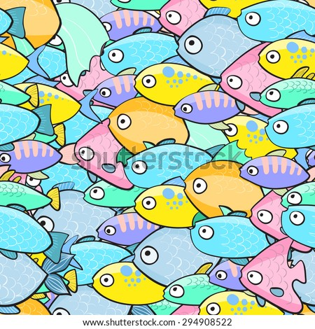 Seamless pattern with fish in cartoon style. Vector illustration. - stock vector