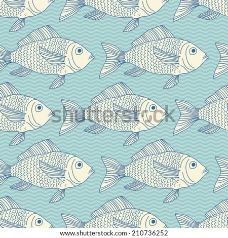 Seamless pattern with fish swimming in the sea - stock vector