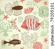 seamless pattern with fishes - stock vector