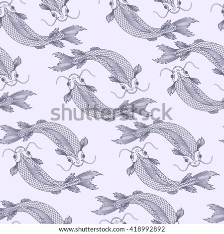 Seamless pattern with fishes. Vector illustration, EPS 10. - stock vector