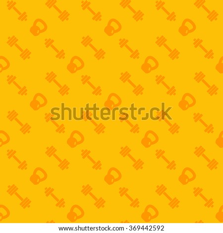 seamless pattern with fitness icons, dumbbells and kettlebell, vector illustration - stock vector