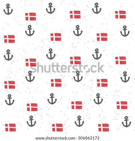 Seamless pattern with flags and anchors. Cute repeated background in vector. - stock vector