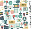 seamless pattern with flat movie icons - stock photo
