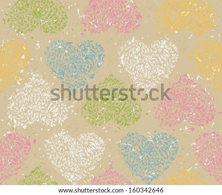 Seamless pattern with floral hearts. Vector illustration. Textured background. Wrapping paper. Cardboard with rough structure. Old paper, inaccurate printing. Wallpaper. Grungy, vintage pattern. - stock vector